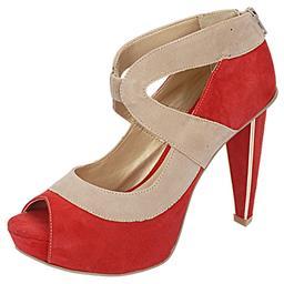Imagem do produto - Peep Toe Feminino Salto Alto Vermelho Belmon - 13143 - 33 a 43