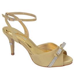 Peep Toe Plataforma Feminino Laço Belmon -  Ouro - 14126