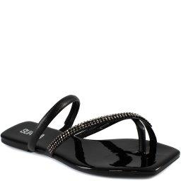 Rasteira Bico Quadrado Com Strass Verão Sapato Show 13641