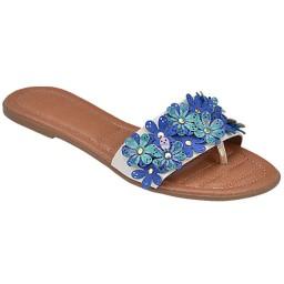 Rasteira com Flor Skippy - 1772 Azul