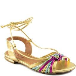 Sandália Flat Metalizada Com Amarração Sapato Show 12750