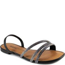 Sandália Rasteira De Tiras Bico Quadrado Strass Dakota Z7901