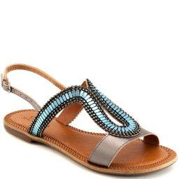 Sandália Rasteira Metalizada Sapato Show 398