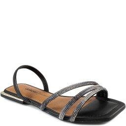 Sandália Rasteira Strass Glam Bico Quadrado Dakota Z7691