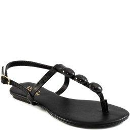 Sandália Rasteira Tiras Com Miçangas Verão Sapato Show 13223