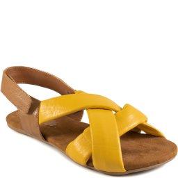 Sandália Rasteira Tiras Cruzadas Em Couro Sapato Show 28308