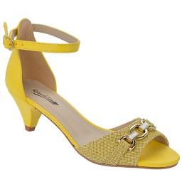 Sandália Salto Baixo Numeração Especial Skippy - 2701 Jeans Amarelo