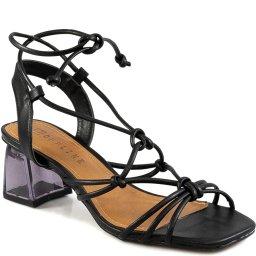 Sandália Salto Bloco Naked Heels Bico Quadrado Offline 21932