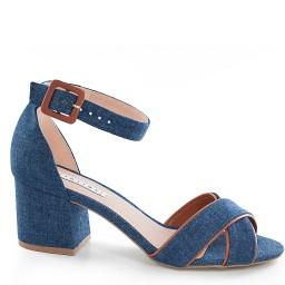 Sandália Salto Grosso Jeans Lia Line - 8115