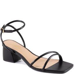 Sandália Tiras Salto Bloco Bico Quadrado Sapato Show 49606