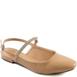 Sapatilha Square Toe Slingback Strass Sapato Show 1816107