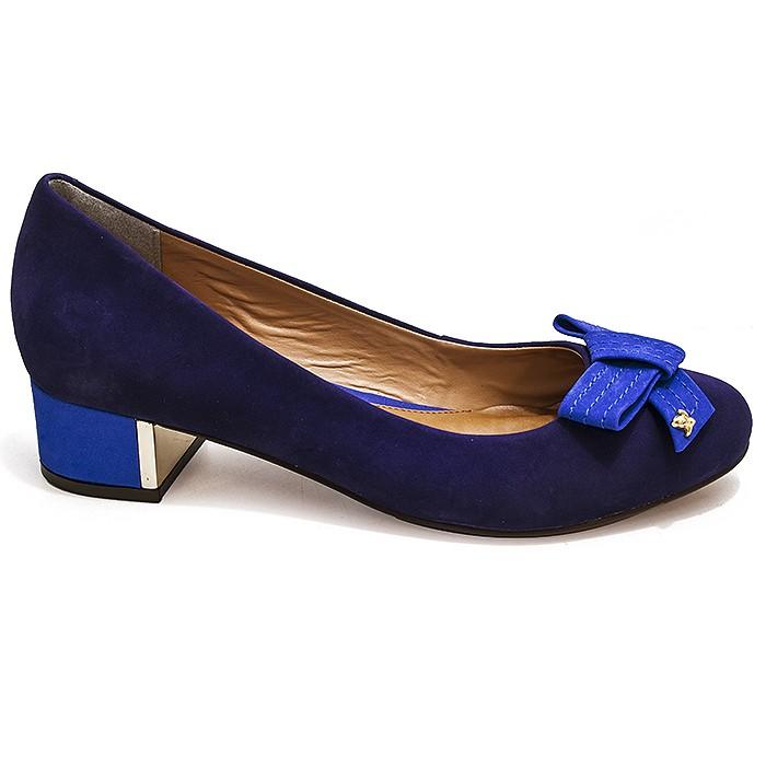 a871f45c58 Scarpin Feminino Salto Quadrado Cravo e Canela 132501 - Azul ...