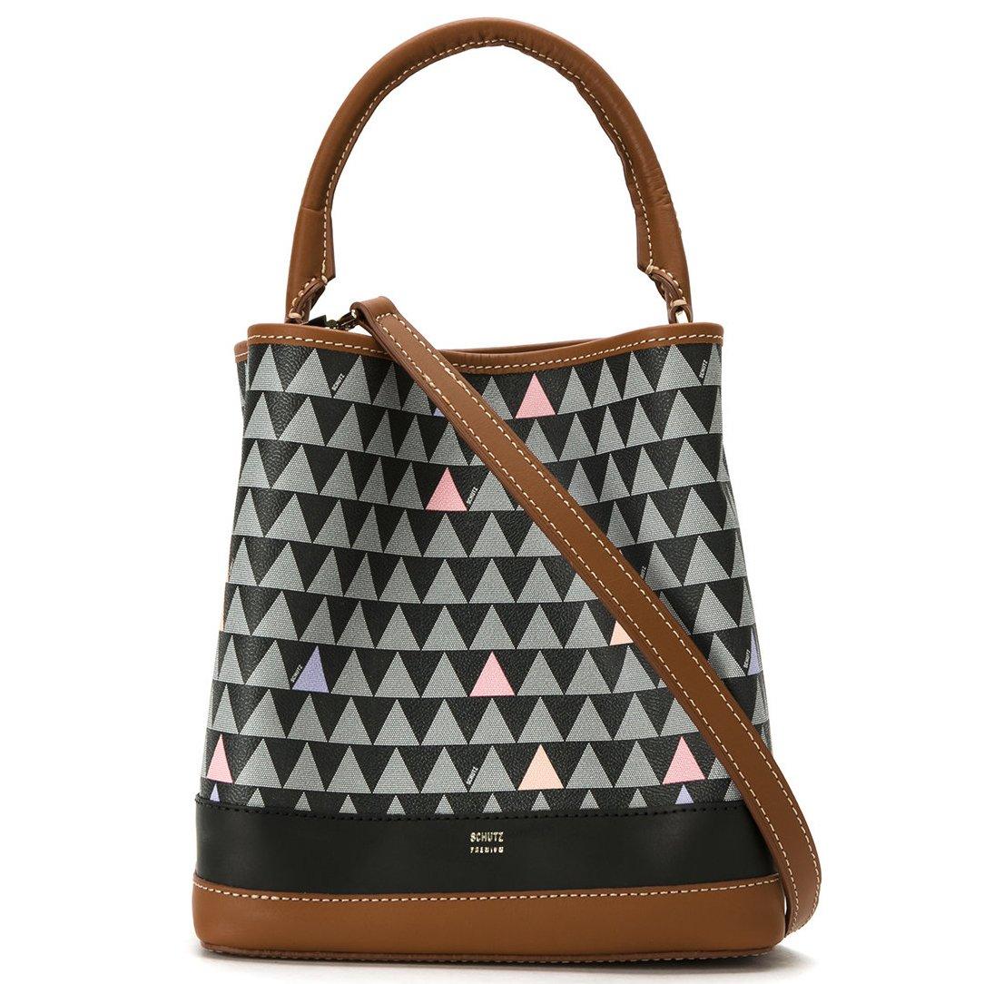 610128995 Bolsa Saco Triangle Schutz S500180603 - Triangle Caramelo | Sapato Show