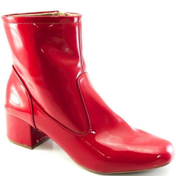 d01a658b9 Botinha Verniz Numeração Especial Sapato Show 9570 - Vermelho ...