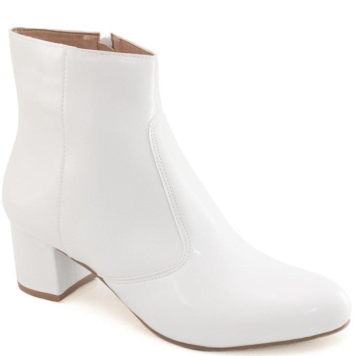 2e70b6699 Botinha Verniz Numeração Grande Sapato Show 1014 - Branco | Sapato Show