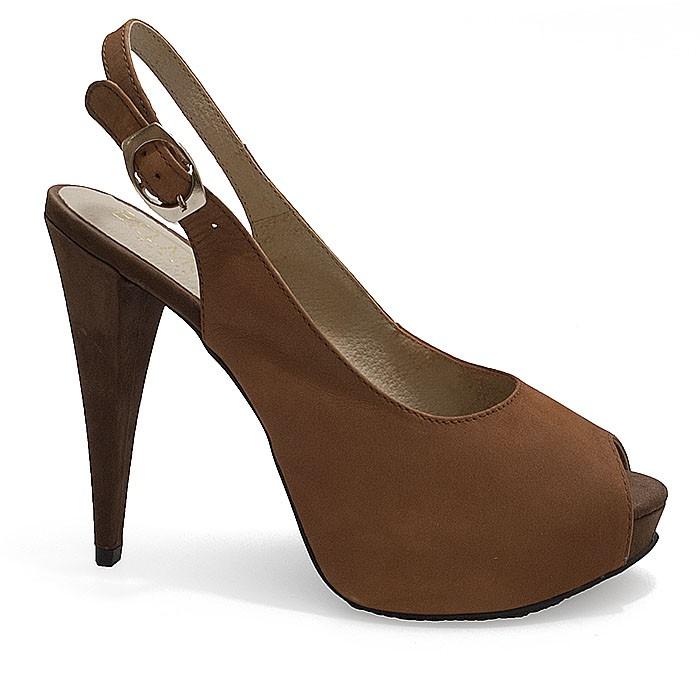 9fbe1addb Peep Toe Feminino Belmon 506 - Caramelo | Sapato Show