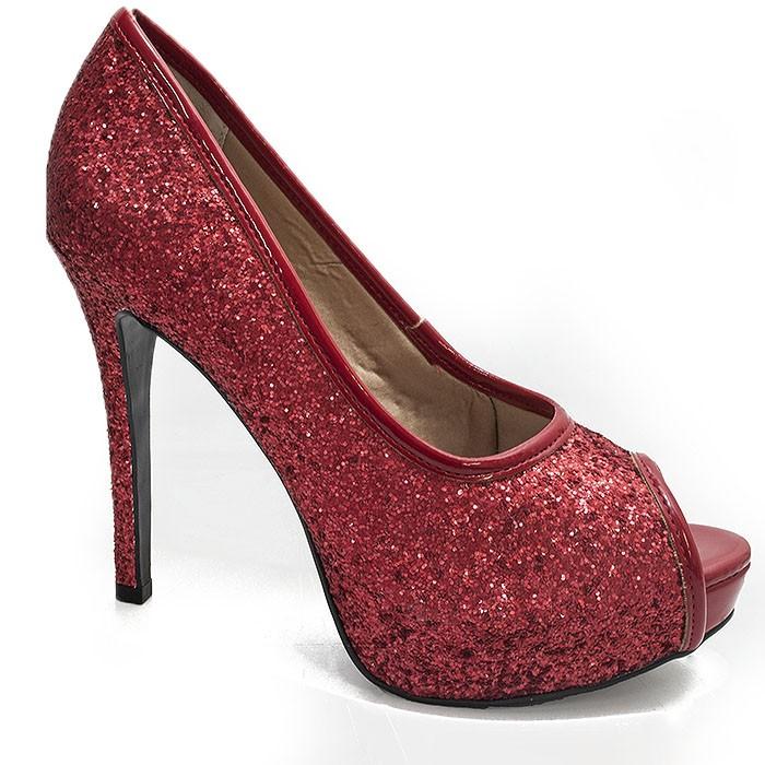 71321f0963 Peep Toe Glitter Sapato Show - 744714 - Gliter Vermelho