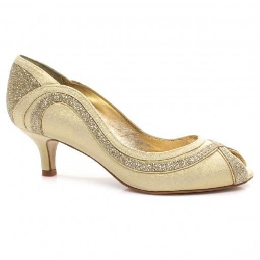 958c1e0564 Peep Toe Laura Porto Mr1353 - Dourado