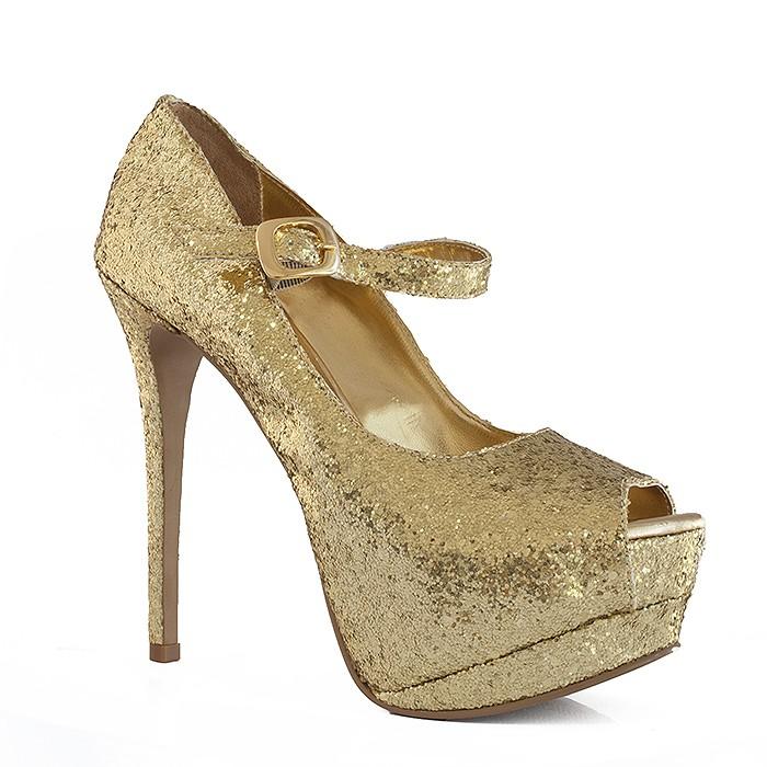 d6a4ce2321 Peep Toe Numeração Especial Belmon - 29-02 - Gliter Ouro