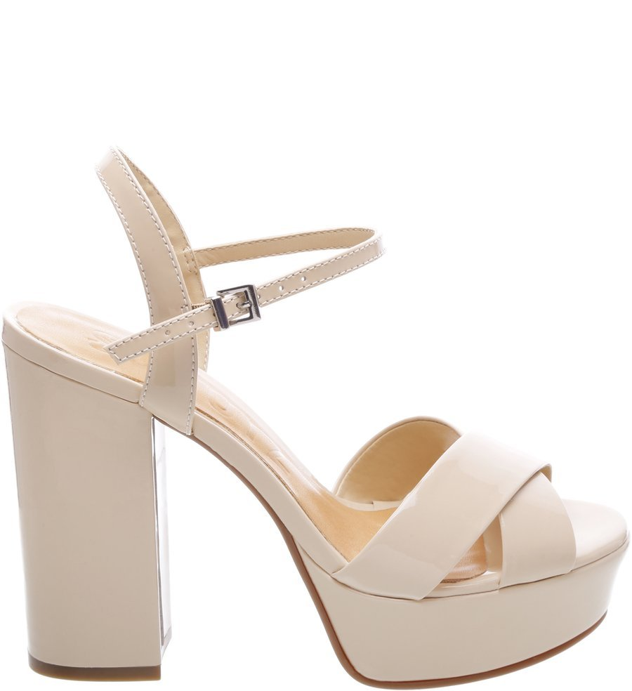 6d77e8c5b Sandália Salto Bloco Trendy Schutz S202780002 - Bege | Sapato Show
