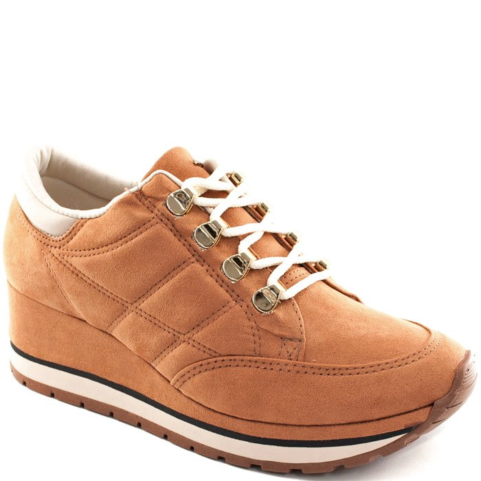 ec68e5daa Tênis Sneaker Salto Anabela Dakota B9751 - Ocre | Sapato Show