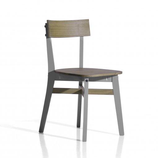 Conjunto de 2 cadeiras Luna - Seconique - Madeira - Cor natural e cinza