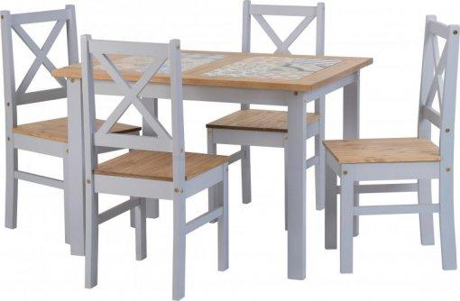 Conjunto de mesa com 4 cadeiras Salvador tampo porcelanato - Seconique - Madeira - Cor Cinza
