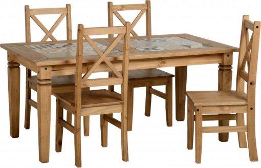 Conjunto de mesa com 4 cadeiras Salvador tampo porcelanato - Seconique - Madeira - Cor natural