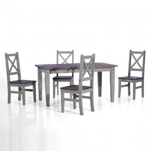 Conjunto de mesa com 4 cadeiras Salvador - Seconique - Madeira - Cor  cinza