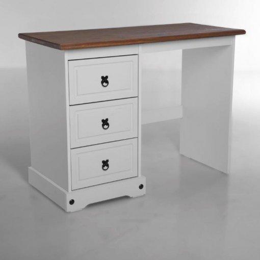 Escrivaninha Corona Laqueado - Original Seconique* - Madeira e MDF - Cor branco e madeira natural