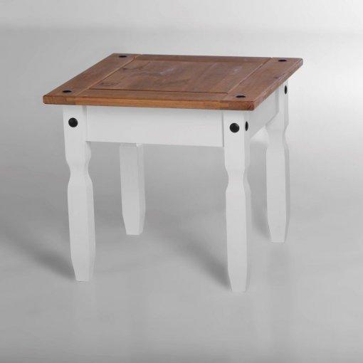 Mesa de centro/ canto Corona laqueado - Original Seconique* - Madeira e MDF - cor branco e madeira natural