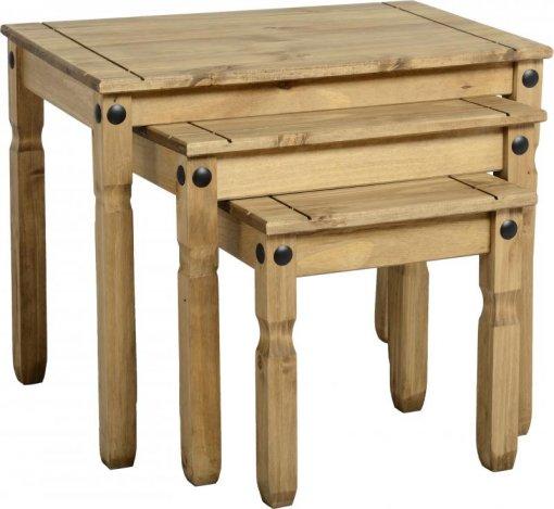 Conjunto de mesas auxiliares Corona Original* - Seconique - Madeira - Cor natural