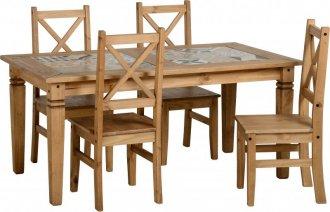 Imagem - Conjunto de mesa com 4 cadeiras Salvador tampo porcelanato - Seconique - Madeira - Cor natural cód: 1018