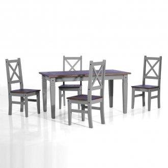 Imagem - Conjunto de mesa com 4 cadeiras Salvador - Seconique - Madeira - Cor  cinza cód: 103