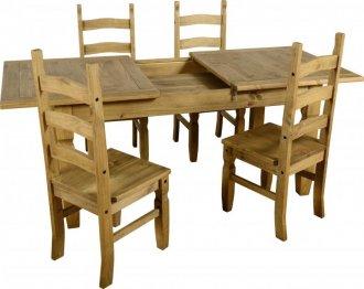 Imagem - Conjunto de mesa EXTENSÍVEL com 4 cadeiras  Corona Original* - Seconique - Madeira - 2052