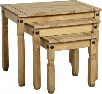 Imagem - Conjunto de mesas auxiliares Corona Original* - Seconique - Madeira - Cor natural   cód: 5063