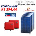 Imagem - Gerador de energia solar 14 placas - 3,78 kWp - WEG - WEGESF378