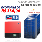 Imagem - Gerador de energia solar 16 placas - 4,32 kWp - WEG - WEGESF432