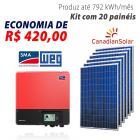 Imagem - Gerador de energia solar 20 placas - 5,40 kWp - WEG - WEGESF540