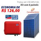 Imagem - Gerador de energia solar 6 placas - 1,62 kWp - WEG - WEGESF162