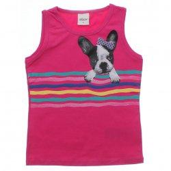 Blusa Regata Infantil Elian Estampa de Cachorro com Listras 31480