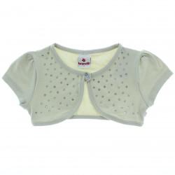 Bolero Brandili Infantil Cotton Light Aplique Strass e Botão