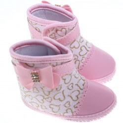 Bota Keto Baby Menina Laço Corino Coração 31271