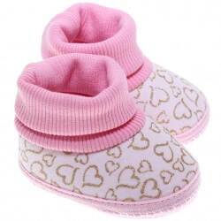 Bota Keto Baby Menina Punho Estampa Coração Glitter 31253