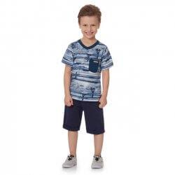Camiseta Infantil Time Kids Estampada Surf e Bolso 31837
