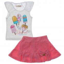 Conjunto Infantil Menina Time Kids Sorvetes Saia Shorts Pingente 31823
