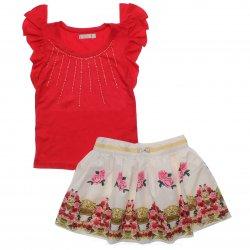 Conjunto Infantil Trick Nick Menina Saia Flores e Blusa Colar Strass 31882