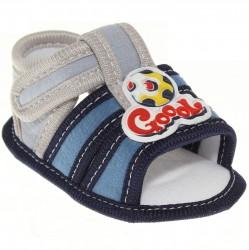 Sandália Keto Baby Menino Velcro Bordado Bola 30387