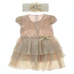 Vestido Paraiso Bebê Em renda Com Babado Plissado 28785