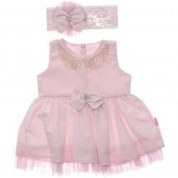 Vestido Paraíso Bebê Lurex Colar Tachas Babado Tule 30241